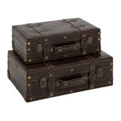 Benzara - Luxurious Wood Faux Leather Two Trunks Set - Luxurious wood faux leather two trunks set. Keep your belongings safe and secure with this gorgeous looking trunks made of faux leather. The large trunk has dimensions of 18w x 12d x 6h, and the small trunk has dimensions of 16w x 9.5d x 5h. Some assembly may be required.
