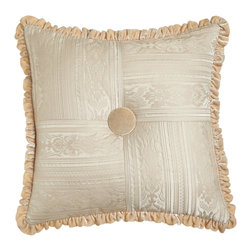 "Dian Austin Couture Home - Pieced Pillow with Velvet Button & Ruffle 20""Sq. - CREAM - Dian Austin Couture HomePieced Pillow with Velvet Button & Ruffle 20""Sq.Designer About Dian Austin Couture Home:Taking inspiration from fashion's most famous houses of haute couture the Dian Austin Couture Home collection features luxurious bed linens and window treatments with a high level of attention to detail. Acclaimed home designer Dian Austin introduced the collection in 2006 and seeks out extraordinary textiles from around the world crafting each piece with local California artisans."