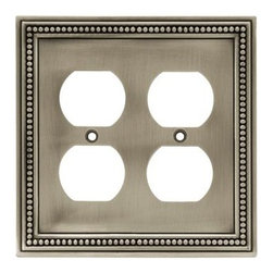Liberty Hardware - Liberty Hardware 64768 Beaded WP Collection 4.96 Inch Switch Plate - The Beaded design adds elegance and sophistication to every room. The satin nickel finish brings distinguished style and grace to any room. Quality zinc die cast base material. Available in the 10 most popular wall plate configurations. Width - 4.96 Inch, Height - 5 Inch, Projection - 0.3 Inch, Finish - Brushed Satin Pewter, Weight - 0.46 Lbs.