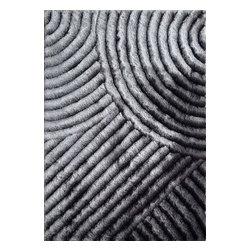 Rug - ~5 ft. x 7 ft. 3-D Plush Grey Shaggy Living Room Hand-tufted Area Rug - 3D SHAG COLLECTION