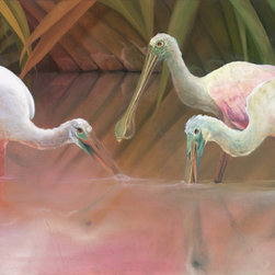 "Allison Richter Wildlife Studio - Spoonbill ""Slanted Sun's Last Call""- Print for Wall Decor 12"" h x 24"" w - Three roseate spoonbills having a bite to eat at the end of the day are the focal point of this wonderful color filled glicee on canvas print. Let long reeds and sky reflecting water sooth your walls and your soul with this beautiful artist print from wildlife artist Allison Richter."