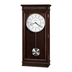 Howard Miller - Kristyn Wall Clock in Espresso Finish - White dial with brushed-Nickel bezel, raised bar style hour markers, center ring, Black hour and minute hands. Quartz, triple chime Harmonic movement plays your choice of Westminster, Ave Maria, or Bim Bam chimes, with volume control and automatic nighttime chime shut-off option. Requires 2 C batteries (not included). Finished in Espresso on select Hardwoods and Veneers. 11.5 in. W x 5.25 in. D x 25.25 in. H
