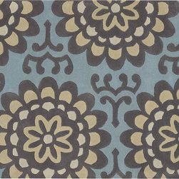 Wallflower Rug - Blue - Hand constructed with high quality New Zealand wool, our tufted pile wallflower rug has a style that works in any setting, and is ready to entertain! Soft to the touch and equally durable, this rug offers both comfort and function. Available in two color ways to suite your taste.