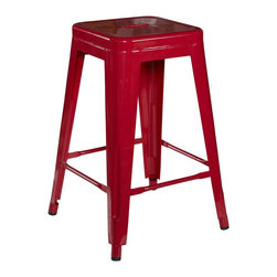 Linon - Red Square Metal Counter Stool - Dimensions: 17.3L x 17.3W x 30.3H