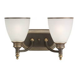 Sea Gull Lighting - Laurel Leaf Estate Bronze Two-Light Wall Mounted Bath Fixture - - The Sea Gull Lighting Laurel Leaf two light vanity fixture in estate bronze offers shadow-free lighting in your powder room, spa, or master bath room. A visually stunning collection with sweeping metalwork draws the eye to intricate basket weave detailing. An Estate Bronze finish lends a comfortable elegance   - Easily converts to LED with optional replacement lamps   - Fixture may be mounted in the up or down position   - Decorative estate bronze finish to accent and brighten your room   - Wire/Cord Length: 6.5-Inches   - Shade/Glass Description: Etched ripple glass shades   - Quantity of shades included: 2   - Bulb not included   - Backplate Dimensions: Depth: 1-Inch, Width: 9-Inch, Height: 5-Inch, Center of Box Up: 5-Inch, Center of Box Down: 4.25-Inch, Sea Gull Lighting - 44350-708