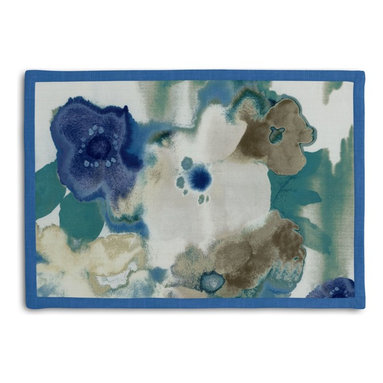 Blue & Aqua Watercolor Floral Tailored Placemat Set - Class up your table's act with a set of Tailored Placemats finished with a contemporary contrast border. So pretty you'll want to leave them out well beyond dinner time! We love it in this cobalt blue & aqua watercolor floral on white cotton. instant modern art, no frame needed.