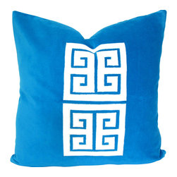 Therese Marie Designs - Greek key pillow - Turquoise Velvet Pillow - Creamy white  cotton velvet is cut in a Greek key pattern and appliquéd onto a square of turquoise cotton velvet. Fabrics used are all medium weight giving this pillow a substantial feel. *For a 20-inch insert*.