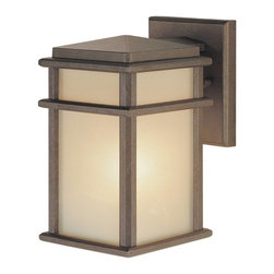 Murray Feiss - Murray Feiss Mission Lodge Outdoor Wall Mount Light Fixture in Corthian Bronze - Shown in picture: Mission Lodge Wall Mount Lantern in Corinthian Bronze finish with Amber ribbed glass
