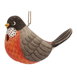 Songbird Essentials - Fat Robin Birdhouse - Songbird Essentials adds color and whimsy to any garden with our beautifully detailed wooden birdhouses that come ready to hang under the canopy of your trees. Hand-carved from albesia wood, a renewable resource, each birdhouse is hand painted with non-toxic paints and coated with polyurethane to protect them from the elements. By using all natural and nontoxic components Songbird Essentials has created a safe environment complete with clean-out for our feathered friends.