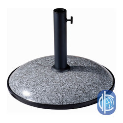 International Caravan - International Caravan Round 17-inch 35-pound Resin Umbrella Base - This sturdy steel umbrella table base comes in four attractive faux finishes and has a wide base to provide stability. This base can accommodate almost all pole sizes, boasting three settings for pole thickness. A tightening knob ensures a secure fit.