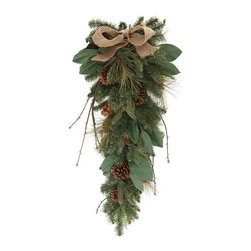 Home Decorators Collection - Burlap and Pine Teardrop Swag - The Burlap and Pine Teardrop Swag is a decorative home accent created with faux greenery, mixed pine, pinecones and a burlap bow. The faux greenery provides lifelike realism to your holiday decor. Includes 110 tips. Made for use every holiday season.