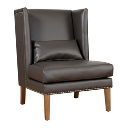 TOV Furniture - Chelsea Grey Leather Wing Chair - Available in Grey bonded leather upholstery, the Chelsea Chair combines the chic design and traditional comfort, inspired by its namesake. The bonded leather is accented with hand applied silver nail head trim.