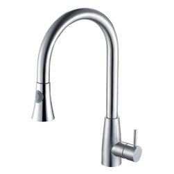ALFI brand - ALFI brand AB2034-BSS Brushed Stainless Steel Two Mode Pull Down Kitchen Faucet - LEON kitchen faucets by ALFI brand are made of solid stainless steel, unlike traditional faucets which are made out of brass and treated to created different finishes. These faucets are built tough and made to last for decades, both durability and looks.