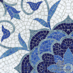 Natasha Tile - I'm such a fan of New Ravenna tile. This hand-cut blue jewel glass mosaic designed by Sarah Baldwin is clearly the work of an artist!