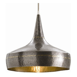 Arteriors - Mason Pendant, Wide - This large pendant light manages to look modern and ancient at the same time. Its organic shape looks unearthed, like a hammered vessel found on an archaeological dig. Yet the silver cord and brass accents bring it firmly into today.