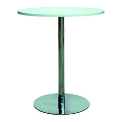 Chintaly Imports - Chrome/White MDF Counter Pub Table - High quality contemporary style fixed height pub table. It features White MDF table top and stainless steel base. Very crisp clean appearance.