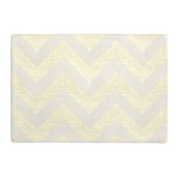 Gold Metallic & Ivory Chevron Custom Placemat Set - Is your table looking sad and lonely? Give it a boost with at set of Simple Placemats. Customizable in hundreds of fabrics, you're sure to find the perfect set for daily dining or that fancy shindig. We love it in this pale gold metallic chevron on white linen that adds subtle shimmer to any space.