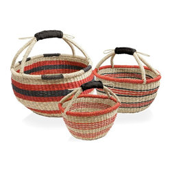 Barebones - Barebones Harvest Basket - Set of 3 Multicolor - GDN-015 - Shop for Baskets from Hayneedle.com! Whether you're using the Barebones Harvest Basket - Set of 3 to harvest your fruits vegetables and herbs or using them for decoration you'll love their natural beauty and simple elegant design. Individually woven from natural sea grass this set of three baskets features a gorgeous leather handle which stays durable even when wet. A one-year warranty is included. Additional Features Large: 14W x 8.6D x 13H in. Medium: 11.8W x 6.7D x 11H in. Small: 9.5W x 1D x 9H in.About BarebonesBarebones is committed to principles that guide everything from their product development to business decisions. Pure and artful design passion empowering individuals hard work and innovation and profitability are at the core of Barebones and the decisions they make. Believing that less is more Barebones works to create items that are rooted in natural beauty and bring people together and they rely on the passion of their workers to create products that not only inspire but also excel. Encouraging their team members to reinvent reconnect rediscover and rethink Barebones strives to reintroduce their customers to the endless possibilities and prosperities of life.