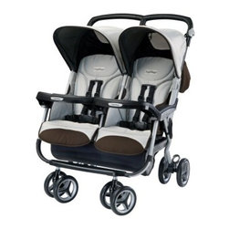 Peg Perego Aria Twin 60/40 Side by Side Stroller - Java - You don't have to limit your travel just because you have twins or two young children of different ages; the Peg Perego Aria Twin 60/40 Side by Side Stroller - Java easily accommodates two kids while remaining lightweight and compact. It's compatible with the Primo Viaggio SIP 30-30 car seat (not included) which sits on the 60-in. side of the stroller; your older child can sit on the 40-in. side. When your infant grows out of the car seat he can sit on the 40-in. side while your older child moves to the larger side. Each child gets his own hood with a loop to dangle a toy; each hood adjusts individually. Each child also gets his own snack tray and each tray can be opened or removed individually to give you easy access to your kids. All these features -- and this stroller still fits through a standard doorway!Dimensions:Open: 31W x 31.5D x 40.5H inchesFolded: 31W x 12.17D x 37.5H inchesAdditional Features:Versatile configurationsCan place car seat on 60-in. side young child on otherOlder child on 60-in. side younger child on otherIndividual hoods with loops to hang toysIndividual reclining backrestsIndividual child trays for snacksTrays open and remove for easy access to childrenAbout Peg PeregoAfter the birth of his infant son in 1949 Giuseppe Perego was unhappy with the minimal selection of juvenile products and decided to design his own baby carriage. His wife added beautiful functional fabrics and the overall aesthetics caught the attention of other parents in the Peregos' small Italian neighborhood. They were inundated with requests by neighbors for carriages of their own and Peg Perego was born. Before long the company was introducing high chairs strollers and other juvenile products. With each new product the family commitment to quality continued. Always thinking forward Peg Perego has never rested on past products or designs; it continues to stay current with parents' changing needs and new research that highlights the health and safety of infants and juveniles.