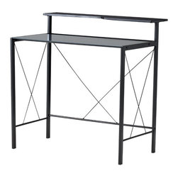 Black and Grey Desk with Printer Shelf - Though this desk is smaller, it would work perfectly in a tight space. I love the modern lines, and the price is fabulous!