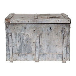Pre-owned Galvanized Zinc Trunk - Everyone needs a little zinc, but we need this vintage zinc trunk now! Perfect for an occasional table. The zinc straps and handles add some extra spice to this already captivating piece.