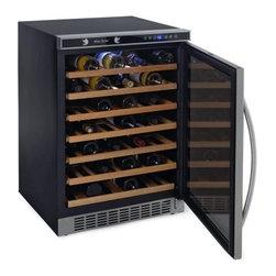 Avanti WCR5403SS 54 Bottle Built-In or Free Standing Wine Cooler with Mirror Fin - Additional features:Single temperature control zone1-touch digital control for red white or sparkling wine1-touch electronic digital temperature display in choice of F or C degrees 1-touch on/off interior light controlBuilt-in interior fan for precise temperature controlLarge stainless steel handleSleek mirror-finished doorBuilt-in or free-standing cooler designReversible door hinge allows for left or right hand opening The Avanti WCR5403SS Wine Cooler can be built into your home as a permanent fixture or used as a standalone appliance. This 54-bottle cooler features wooden shelves that operate on a pull-out roller assembly to allow easy browsing and access to your collection. With its one-touch controls and electronic digital display this wine cooler takes the guesswork out of setting the optimal environment for your wines. The reversible door hinge allows for left or right hand opening for convenient access. A sleek black and stainless steel exterior and mirror-finished door make for a design that's welcome in any setting.
