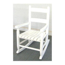 Dixie Seating - Slat Seat Child Rocker (Black) - Finish: BlackAny child will feel special with this classic rocker as part of his or her bedroom decor. Also ideal for a front porch or patio, the child sized rocker is crafted of solid ash with a ladder back and a slat seat and is available in your choice of finish options. Classic ladder back barstool. Made in the USA. Made of solid ash hardwood. Pictured in White finish. No assembly required. Underside is unsanded. 16 in. W x 24 in. D x 23 in. H
