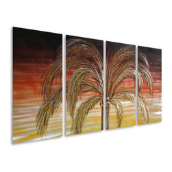 Pure Art - Divine Palm Handcrafted Metal Wall Sculpture Set of 4 - Add some warm rejuvenating glow to any area of your home with Divine Palm Handcrafted Metal Wall Sculpture Set of 4. A tropical oasis awaits you and your guests upon entering your living area. Glowing hues will surround you as you lounge with your favorite book in the midst of this enticing metal wall art piece. Be swept away as if you were gazing into your true love's eyes. Let all your dreams sail away in the breeze of your imagination as you are drawn to this exceptional view. Use this relaxing scenery as backdrop to sweep you away to a land full of fantasies for you to choose.Made with top grade aluminum material and handcrafted with the use of special colors, it is a very appealing piece that sticks out with its genuine glow. Easy to hang and clean.