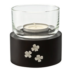 Kouboo - Tea Light Holder in Mango Wood with Flower Motif - Carved by hand of soft, Mango wood, native to India, this small wooden lantern is adorned with floral decorations cast in pewter. A rich espresso finish make this lantern an elegant addition to any room of the home, while a glass cylinder allows it to be used outdoors. Displays one tea light for added romance and ambience, and is perfect as an addition to intimate table settings or for embellishing tables, shelves or mantles.