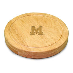 "Picnic Time - University of Memphis Circo Cheese Board - The Circo by Picnic Time is so compact and convenient, you'll wonder how you ever got by without it! This 10.2"" (diameter) x 1.6"" circular chopping board is made of eco-friendly rubberwood, a hardwood known for its rich grain and durability. The board swivels open to reveal four stainless steel cheese tools with rubberwood handles. The tools include: 1 cheese cleaver (for crumbly cheeses), 1 cheese plane (for semi-hard to hard cheese slices), 1 fork-tipped cheese knife, and 1 hard cheese knife/spreader. The board has over 82 square inches of cutting surface and features recessed moat along the board's edge to catch cheese brine or juice from cut fruit. The Circo makes a thoughtful gift for any cheese connoisseur!; College Name: University of Memphis; Mascot: Tigers; Decoration: Laser Engraving; Includes: 1 cheese cleaver (for crumbly cheeses), 1 cheese plane (for semi-hard to hard cheese slices), 1 fork-tipped cheese knife, and 1 hard cheese knife/spreader"