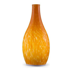 Hand Painted Orange Blown Glass Vase LED Mobile Lamp - This Hand Painted Orange Blown Glass Vase LED Mobile Lamp is the perfect addition to any room.It offers lovely elements in a well-executed package.An artistic accent for a living room or bedroom. This lovely luminary emits an enchanting glow wherever it's placed.Unique and contemporary home interior lighting design for your home decoration. The Lamp has 2 operating modes cycled through the control switch. Normal mode & Candle mode.