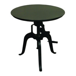 """YOSEMITE HOME DECOR - Bistro Table - This adjustable height table features a metal top and a cast iron tri-leg base.  Turn the handle  to adjust the table height from 31""""-40"""".  Indoor/Outdoor use. """"Dry Climate Suggested for Outdoor Use"""". Lubricate with graphite, do not use oil.  Made in India.  Overall Item Dimension 30""""Wx30""""Dx41""""H"""