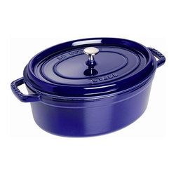 Staub - 8 1/2-Qt. Oval Dutch Oven - The French oven is a timeless standby for stews, roasts, soups, casseroles and other one-pot classics. Staub has perfected this tradition in our signature ''La Cocotte'' (co-cot) French oven, the choice of some of the world's best chefs. The traditional round design has self-basting spikes for continuous, natural basting. When your meal is ready, La Cocotte moves beautifully from the stove to your table. Features: -Oval cocotte.-Traditional oval design.-Nickel knob.-Resist up to 500F.-Closed circuit and spikes cooking allows self basting.-Enameled black matte interior provides genuine flavor.-Smooth enamel bottom.-Compatible with all heat sources.-Perfect for stews, roasts, soups, casseroles and other one-pot classics.-Microwave safe.-Staub provides lifetime guarantee which covers any manufacturing or quality defect.-Made in France.-Capacity: 8 1/2-Qt..-Cast iron construction retains heat keeping it warm after being taken out of the oven.-Distressed: No.-Country of Manufacture: France.Dimensions: -Dimensions: 7.2'' H x 17.2'' W x 11.2'' D.-Overall Product Weight: 19.3 lbs.