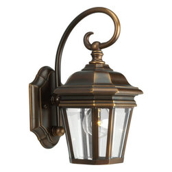 Progress Lighting - Progress Lighting P5670-108 Crawford Single-Light Small Cast Aluminum Outdoor - Classic and cool, this one light outdoor wall lantern from the Crawford collection is the perfect addition to your outdoor space. Water patterned glass  and scroll arm details complete the look, while a luxurious hand painted finish provides opulence and class. The fixture is listed for outdoor use and covers a standard outlet box for long lasting and durable use.Features:
