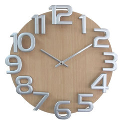 George Nelson - Oversized Numerals Wooden Wall Clock - Measures: 12.5 in. Dia. x 2 in. D. Weight: 1.65 lbs.