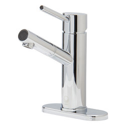 """Vigo - Noma Single Lever Chrome Finish Faucet with Deck Plate - The VIGO Noma Single Lever faucet in Chrome finish will add style and versatility to any bathroom decor.; Solid brass construction and Chrome finish ensure durability and longer life; VIGO finishes resist corrosion and tarnishing, exceeding industry durability standards; Mineral-resistant nozzle is easy-to-clean; High-quality ceramic disc cartridge ensures maintenance-free use; Features easy single-hole installation; Single lever for water and temperature control; Water pressure tested for industry standard; 1.5 GPM flow rate; All mounting hardware and hot/cold waterlines included; Standard US plumbing 3/8"""" connections; Pop-up not included; Faucet Height: 7 3/4""""; Spout Height: 5""""; Spout Reach: 4 7/8""""; Standard 1 3/8""""Diameter opening is required; This VIGO faucet is cUPC, NSF-61, AB1953, and WaterSense certified by IAPMO; ADA Compliant; Limited Lifetime Warranty; Deck Plate; Chrome finished Solid Brass Construction; For three-hole installations; Mounting hardware is included; Deck Plate has a 1 Year Limited Warranty; Overall dimensions: 3/8""""H x 5 1/2 W x 2 1/8""""D"""