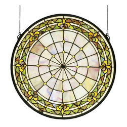 Meyda Tiffany - Meyda Tiffany Fleur-De-Lis Medallion Stained Glass Window X-04894 - A simple geometric pattern and fleur-de-lis accents are highlighted by neutral muted tones, creating a classic look to this Meyda Tiffany stained glass window. From the Fleur-De-Lis Collection, this medallion style window is a delightful way to add charm to any home.