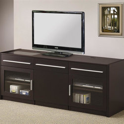 Coaster - 60 in. Contemporary TV Cabinet - Hidden mobile computer caddy. Center shelves in console and caddy. Connect-it power drawer. One additional drawer. Two glass doors with two shelves inside each. Scratch resistant melamine laminate top. Rich cappuccino finish. 59.75 in. W x 17.75 in. D x 23.5 in. H. WarrantyLove to browse the web on your laptop as you watch TV? Then this contemporary TV console with hidden mobile computer caddy is just the thing for your living room. This TV stand has a weight capacity of 150 pounds.