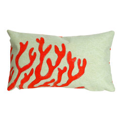 """Coral Red Print 12"""" X 20"""" Throw Pillow - This wonderful indoor / outdoor decorative throw pillow looks great in living rooms or patios or wherever you want a dash of color. Made of 100% polyester microfiber. The cover has a zipper closure so you can take out the fiberfill inner pillow for hand-washing if you need to. The pillow measures 12 inches by 20 inches."""