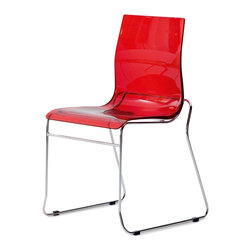 DomItalia Furniture - Gel-T Stackable Dining Chair in Red (Set of 2) - Mix and match and watch the magic begin with the Gel-T Stackable Dining Chair in Red SAN (Set of 2). The seat is stackable with others of its kind.