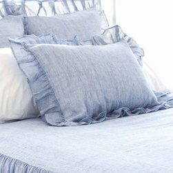 Pine Cone Hill - savannah linen chambray sham (french blue) - Soothing neutrals and soft, subtle textures create a tranquil aesthetic for our beach house collection. Classic decorative pillows, cotton bed sheets, plush duvet covers and more are the foundation for your casual chic cottage.