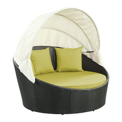 """LexMod - Siesta Canopy Outdoor Patio Daybed in Espresso Peridot - Siesta Canopy Outdoor Patio Daybed in Espresso Peridot - Awaken from your daytime repast while comfortably ensconced in this boundless elliptical daybed. Return to newly focused strength and vigor with an affluent all-weather white cushion and retractable sun guard. Siesta's modern form shows that, independent of everything, your space in the world is determined by your ability to make the most out of revitalized pursuits. Set Includes: One - Siesta Outdoor Wicker Patio Canopy Bed Three - Siesta Outdoor Wicker Patio Throw Pillows Synthetic Rattan Weave, Powder Coated Aluminum Frame, Water & UV Resistant, Machine Washable Cushion Covers, Ships Pre-Assembled Overall Product Dimensions: 63""""L x 63""""W x 31""""H Seat Height: 14""""HBACKrest Height: 30""""H Armrest Dimensions: 1""""W x 22""""H - Mid Century Modern Furniture."""