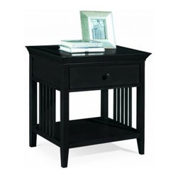 """American Drew 181-400B Drawer Night Stand - Black Sterling Pointe - Drawer Night Stand - Black - American Drew Sterling Pointe Collection 181-400BBuilt in caged pattern this Drawer Night Stand is truly an innovative piece by American Drew to adorn the decor around. The spacious chamber with a single drawer at the top blesses it with a classy look. Being made with excellent quality timber it is extremely durable. The black finish makes American Drew 181-400B a spectacular product to impress you all. Its unique style enables you to use it for different purposes like an entertainment center or a book shelf. Hence it is surely going to be a sought after product in the furniture market.Features: 1 Shelf1 DrawerThis Price Includes: Drawer Night Stand - BlackItem:Weight:Dimensions:Drawer Night Stand - Black48 lbs26"""" W X 17"""" D X 28"""" HManufacturer's Materials:Maple and Hardwood SolidsMaple & Poplar Veneers & Simulated Wood Components"""