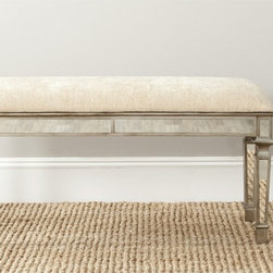 Safavieh - Safavieh Layla Beige Mirrored Bench - Glamour is the art of adornment,and the Layla bench is the perfect place for sitting pretty. Its solid birch construction and 100 cotton fabric belie its delicate decorative mirrored design.