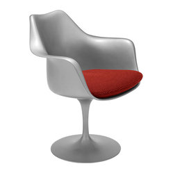Knoll - Tulip Armchair by Knoll | Smart Furniture - Let the arms of this botanically-inspired tulip chair by Eero Saarinen envelop you like the gentlest blossoms. This unique tulip chair can stand alone as a statement piece for your living room, or provide modern seating around your dinner table.