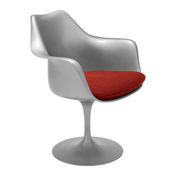 Knoll - Tulip Armchair - Let the arms of this botanically-inspired tulip chair by Eero Saarinen envelop you like the gentlest blossoms. This unique tulip chair can stand alone as a statement piece for your living room, or provide modern seating around your dinner table.