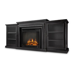 Blackwash Frederick Electric Fireplace & Entertainment Unit - The Fredericks pronounced firebox trim, bordered glass doors and rich finish options add to the antique feel of this classic entertainment mantel. Capable of safely supporting a television of 100 lbs. or less while adjustable shelving accommodates most electronics and other objects. The Vivid Flame Electric Firebox plugs into any standard outlet for convenient set up. The features include remote control, programmable thermostat, timer function, brightness settings and ultra bright Vivid Flame LED technology. Available in Blackwash and Chestnut Oak finishes.
