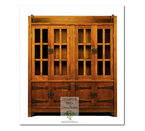 Mission Bookcases - This beautiful Bookcase is an identical Historic Reproduction of Gustav Stickley's Bookcase Cabinet Circa 1902.  It is 100% Handcrafted in the United States by our Master-Craftsmen and Guaranteed for Life!