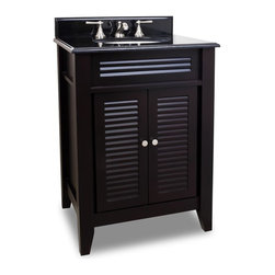 "Louvered Vanity Set, Black Base/Black Top - This set consists of 26-1/2"" wide MDF vanity with louvered doors, tapered legs and preassembled granite top. Large cabinet provides for ample storage. Vanity comes preassembled with a 2cm black granite top with 4"" tall backsplash, 15"" x 12"" bowl, and cut for 8"" faucet spread."