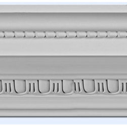 """Inviting Home - Beaded Egg-and-Dart Crown Molding - large Beaded Egg-and-Dart crown molding 7-3/8""""H x 7-1/4""""P x 10-1/4""""F x 8'00""""L repeat 1-1/2"""" 4 piece minimum order required crown molding specifications: - outstanding quality crown molding made from high density polyurethane: environmentally friendly material is hypoallergenic and fully recyclable no CFC no PVC no formaldehyde; - front surface of this molding has extra durable and smooth surface; - crown molding is pre-primed with water-based white paint; - lightweight durable and easy to install using common woodworking tools; - metal dies were used for consistent quality and perfect part to part match for hassle free installation; - this crown molding has sharp deep and highly defined design; - matching flexible molding available; - crown molding can be finished with any quality paints; Polyurethane is a high density material--it's extremely lightweight and easy to install (and comes primed and ready to paint). It is a green material meaning its CFC and formaldehyde free. It is also moisture resistant--so it won't shrink flex or mold. What's also great about Polyurethane is that it's completely customizable and can be treated as wood (you can saw it nail it screw it and sand it). In addition our polyurethane material comes primed and ready to paint. There is a four piece minimum requirement for this molding purchase."""